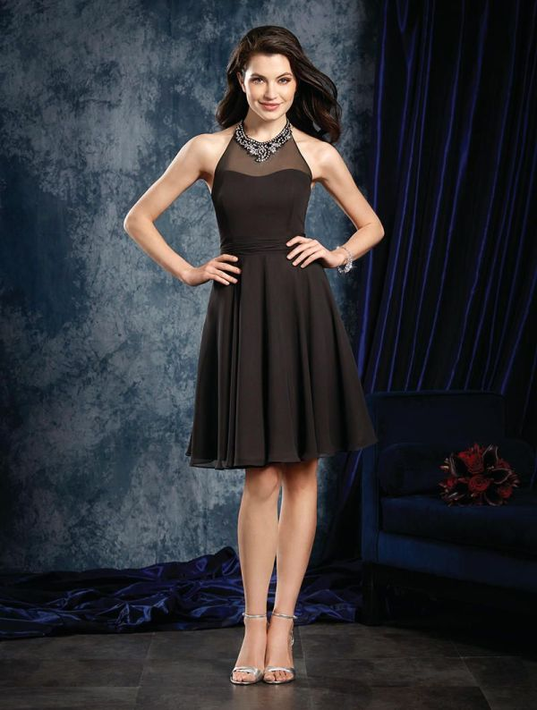 Alfred Angelo Sapphire 8108s Sheer Beaded Halter Bridesmaid Dress French Novelty