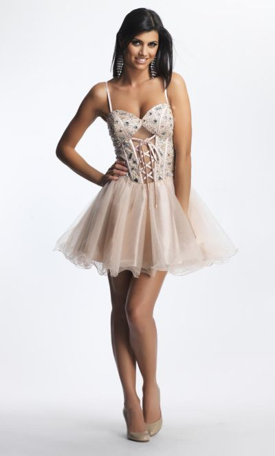 Dave and Johnny 8342 Beaded LaceUp Corset Short Dress French Novelty