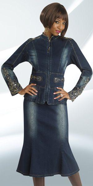 DV Jeans 8404 Womens Blue Denim Church Suit French Novelty