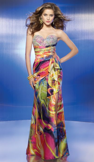 Colorful Print Beaded Prom Dress Flaunt 8834 by Mori Lee