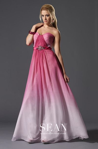 Sean Express Pink Ombre Prom Dress 90071 French Novelty
