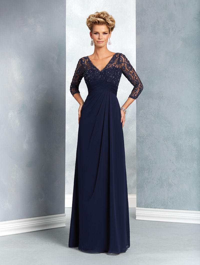 Alfred Angelo 9053 MOB Gown with Sheer Sleeves French Novelty