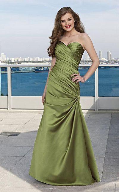 Strapless Long Satin Ruched Mori Lee Bridesmaid Dress 284