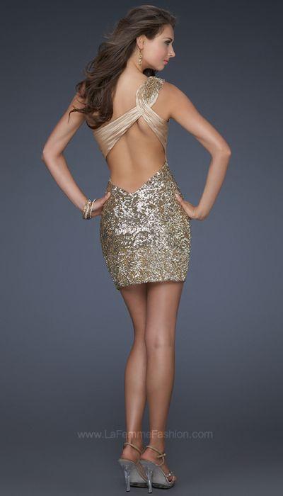 La Femme Gold Sequin Cocktail Dress with Lace Trim 16905