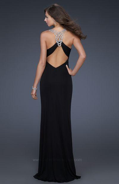La Femme Black Jersey Long Evening Dress with Rhinestones 17007 French Novelty
