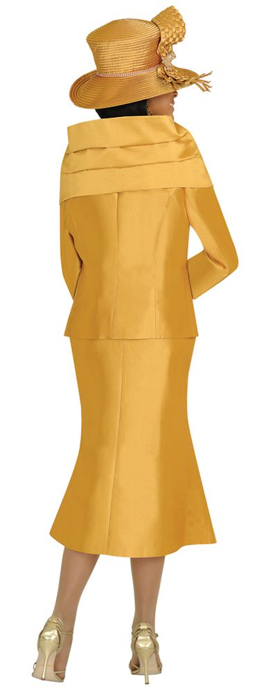 Nubiano N95823 Womens Gold Church Suit with Removable Shawl and Pin French Novelty
