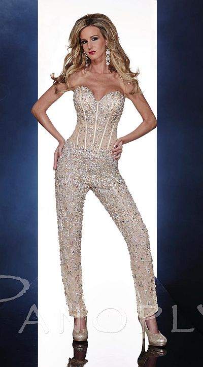 Panoply Sheer Beaded Corset Jumpsuit 14607 French Novelty