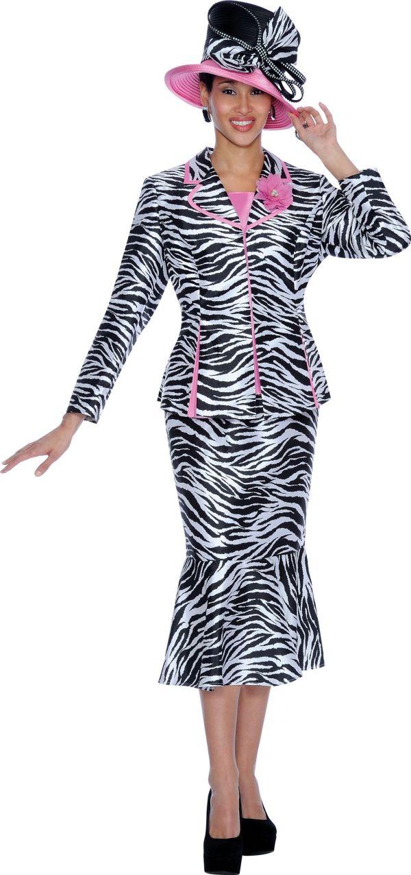 GMI G5103 Womens Zebra Print Church Suit  French Novelty