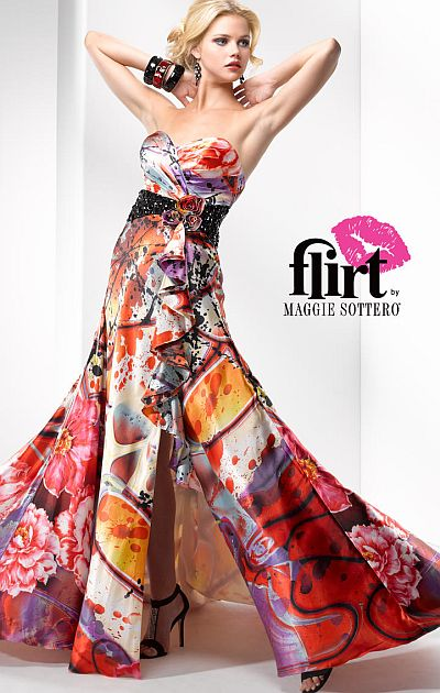 Flirt Bold Print Satin Prom Dress P2693P by Maggie Sottero French Novelty