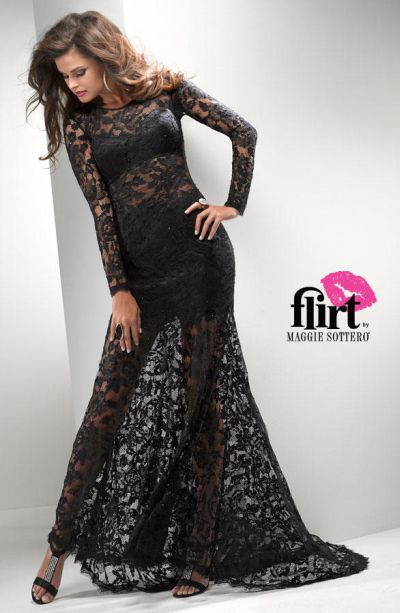 Flirt P2718 Long Sleeve Illusion Lace Evening Gown French Novelty