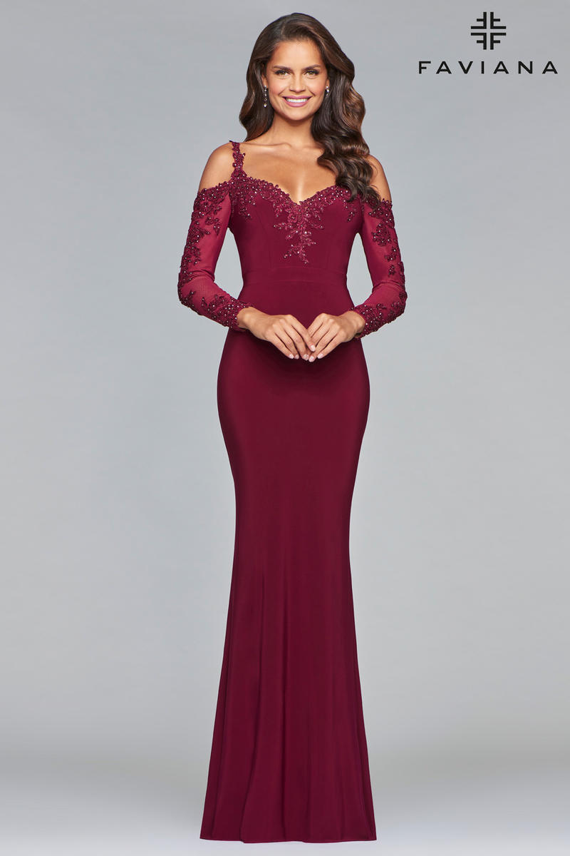 Faviana Glamour S10007 Long Sleeve Evening Gown French