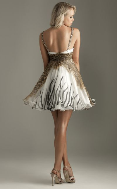 Flowy Chiffon Crystal Short Cocktail Dress Night Moves by