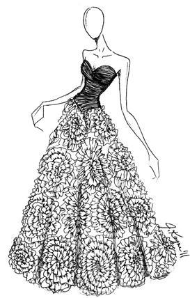 Johnathan Kayne Swirl Ruffle Iridescent Prom Ball Gown 261