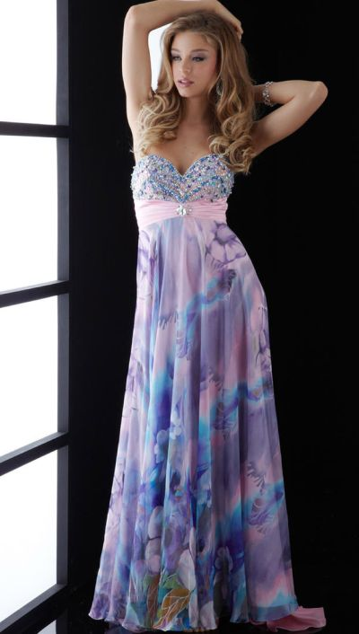 Jasz Multi Color Beaded Long Print Prom Dress 4538 French