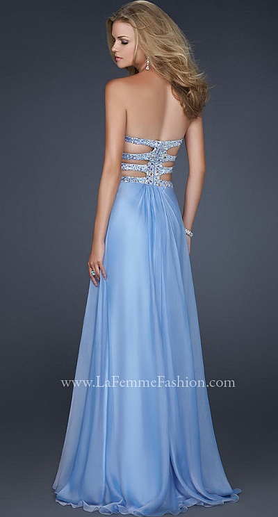 La Femme Simple Chiffon Prom Dress with Iridescent Beading