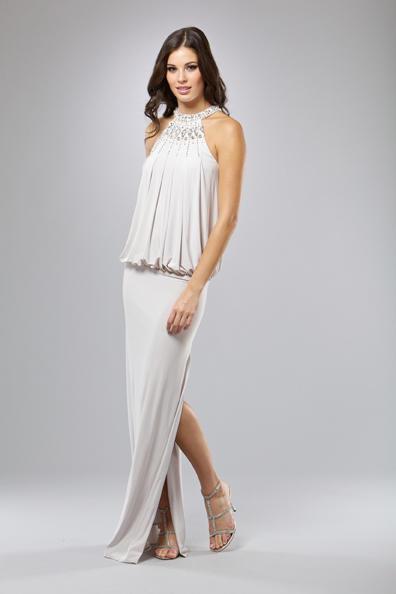 Mignon Cold Shoulder Blouson Evening Dress VM793 French