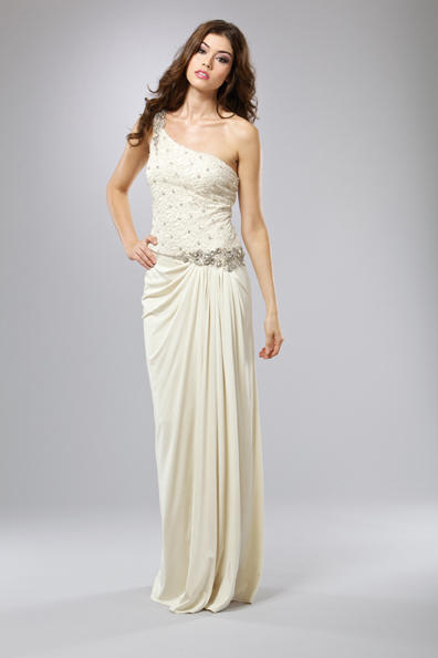 Mignon Cream One Shoulder Evening Dress VM795 French Novelty