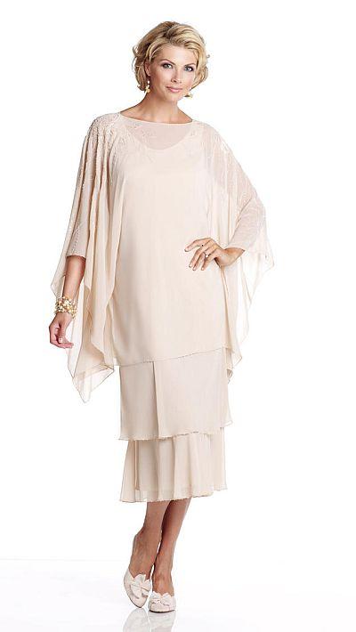 Capri CP11471 Draped Tea Length Mother of the Bride Dress French Novelty