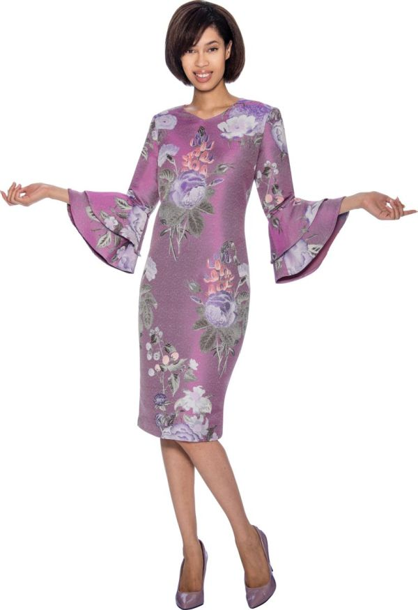 Size 14 Purple Nubiano Dn3381 Floral Print Bell Sleeve