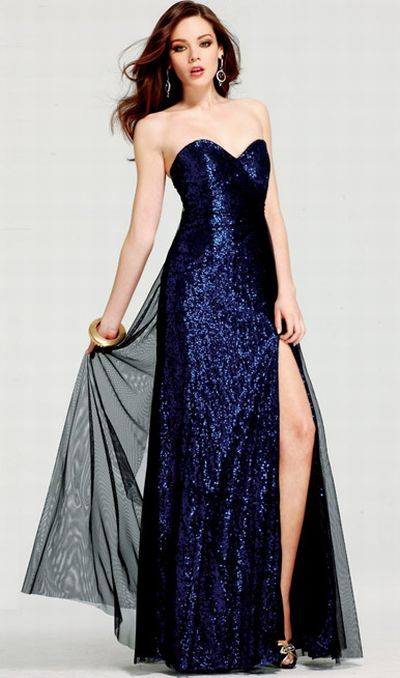 Faviana Glamour Sequin Evening Dress with Mesh Overlay