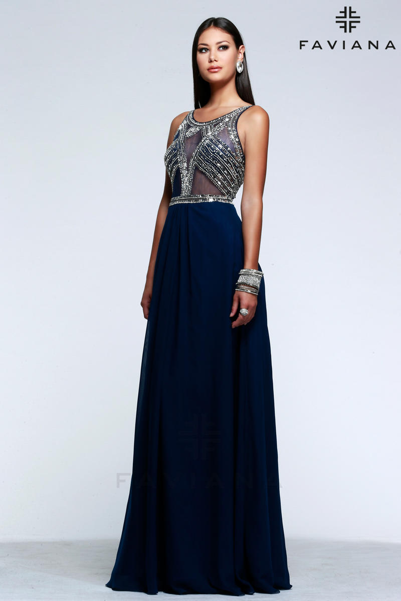 Faviana Glamour S7559 Sheer Beaded Prom Dress French Novelty