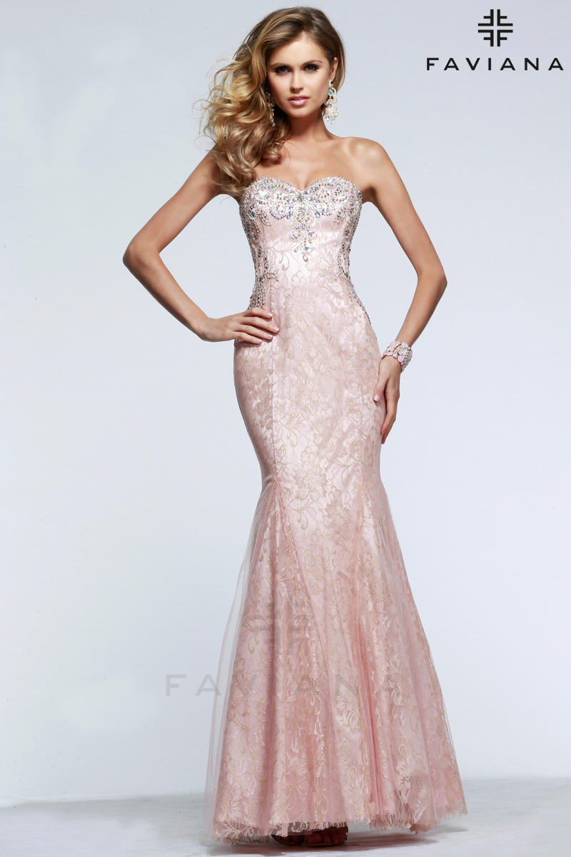 Faviana Glamour S7603 Tulle with Lace Prom Dress French