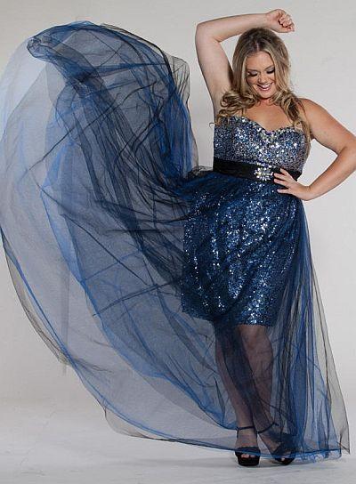 Sydneys Closet SC7093 Plus Size High Low Dress French Novelty