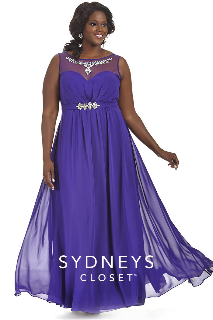 Sydneys Closet SC7164 Plus Size Illusion Prom Gown