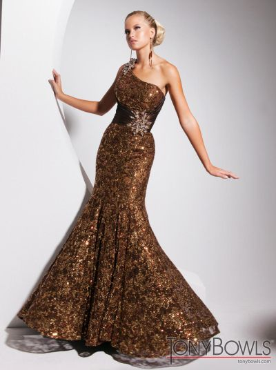 Tony Bowls Evenings TBE11326 Brown Taffeta Formal Dress