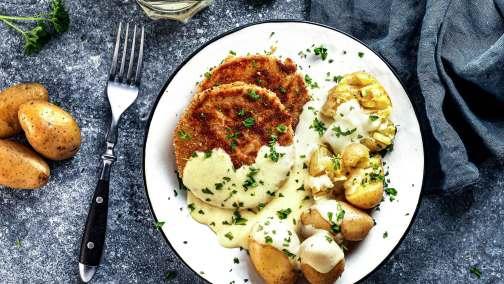 Kohlrabi Schnitzel mit Frühkartoffeln & Sauce Hollandaise für 4 Personen