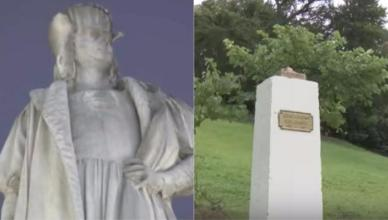 Statue of Christopher Columbus Torn Down in Yonkers