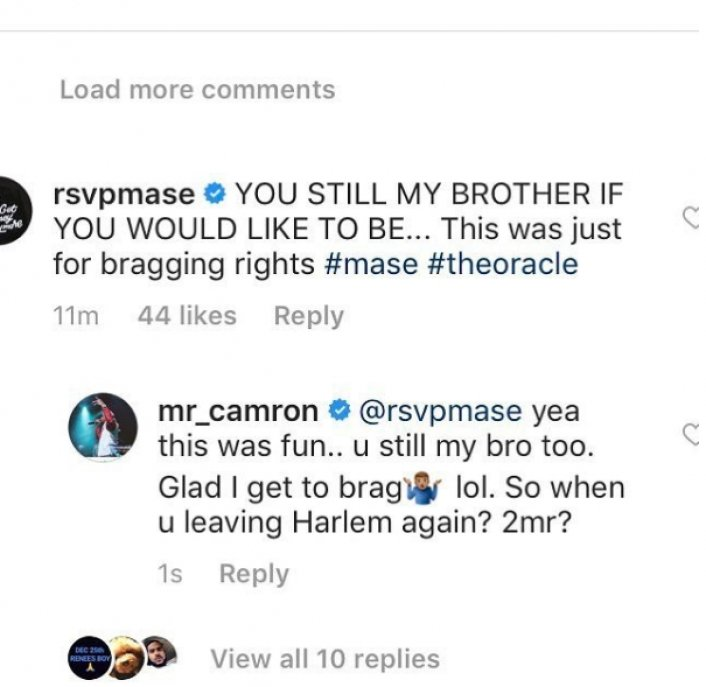 Mase Says He's Not Cool w/ Cam'ron; Shook Hand Out of Respect