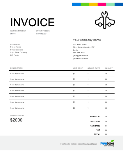 Simply fill in the attached form to quickly collect client contact information, a description of the vehicle, the repairs to be performed, and the approximate price for repairs. Auto Repair Invoice Template Free Download Send In Minutes