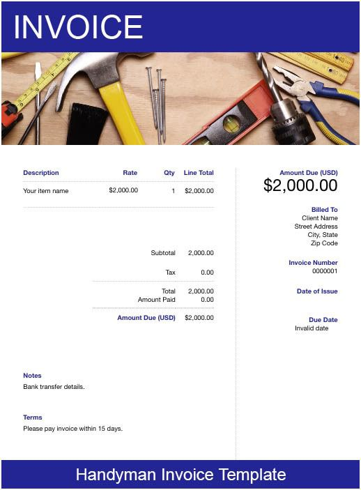 25/04/2016· a consolidated handyman invoice is titled with the logo of the person's working area. Handyman Invoice Template Free Download Send In Minutes