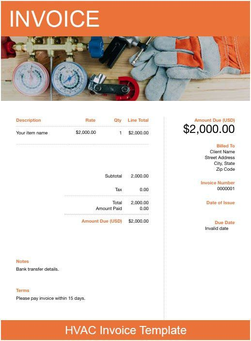 Download an hvac invoice template for free. Hvac Invoice Template Free Download Send In Minutes