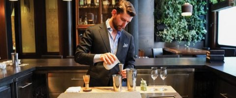 Jeff Ruiz of Atera restaurant in New York City mixes an iced matcha cocktail