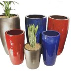 Colourful fibreglass planters