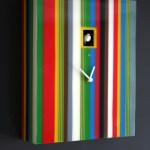 Funky striped cuckoo clock