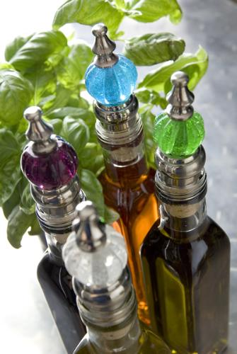Colourful glass bottle stoppers