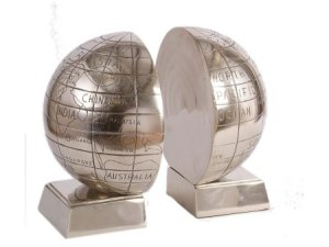 Aluminium globe bookends