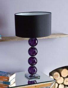 Purple stacked ball base lamp