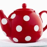 Red and white polka dot tea pot