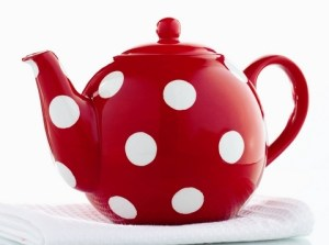 Large red polka dot tea pot