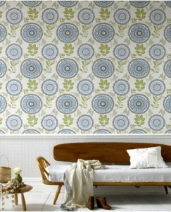 Contemporary designer floral wallpaper
