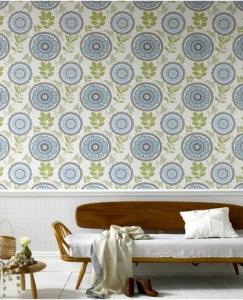 Contemporary designer floral wallpaper