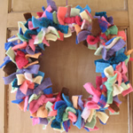Recycled raggy wool wreath