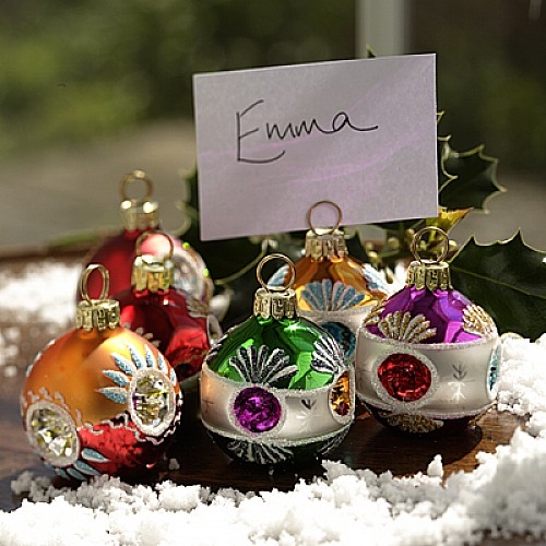 Christmas bauble place name holders