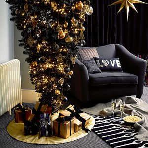Black fresh design upside down reversible Christmas tree