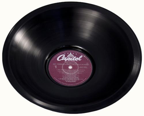 Vintage vinyl recycled bowl