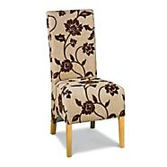 Debenhams chocolate floral wing back fabric chairs
